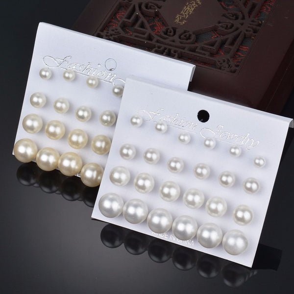 MissCyCy 12 pairs/set Simulated Pearl Earrings For Women Jewelry Bijoux Brincos Pendientes Mujer Fashion Stud Earrings