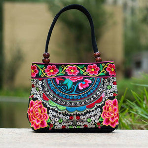 2017 Embroidery Ethnic Travel Shoulder Bag Women Bags Handmade Double Faced Flower Vintage Embroidered Canvas Wood Beads Handbag - Baby Gifts Delivered
