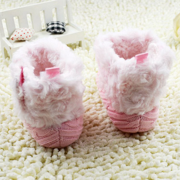 2017 Winter Warm First Walkers Baby Ankle Snow Boots Infant Crochet Knit Fleece Baby Shoes For Boys Girls - Baby Gifts Delivered