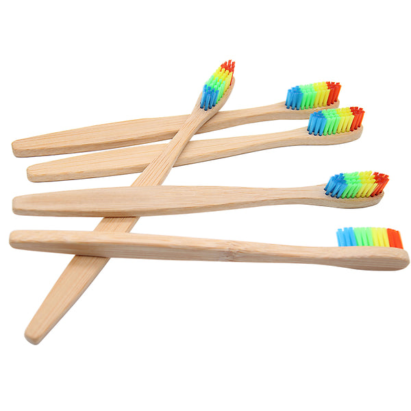 1 PCColorful Head Bamboo Toothbrush Wholesale Environment Wooden Rainbow Bamboo Toothbrush Oral Care Soft Bristle - Baby Gifts Delivered