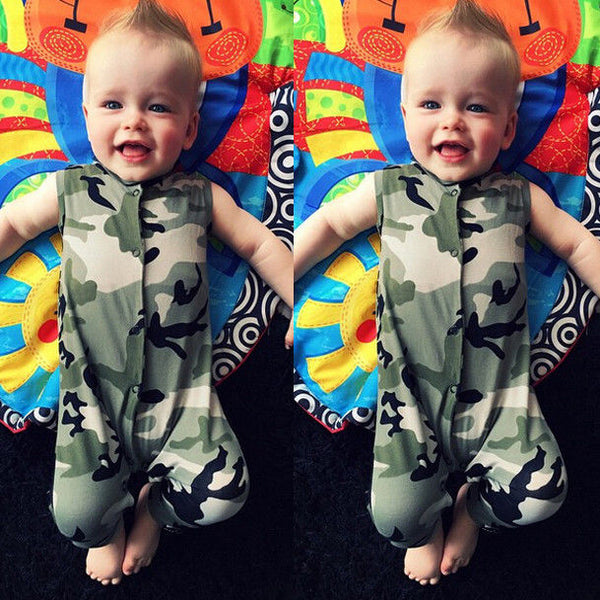 0-3Y Newborn Infant Baby Boys Summer Clothes Camouflage Sleeveless Romper Jumpsuit Playsuit Outfits Clothes - Baby Gifts Delivered