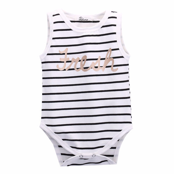 2017 toddler infant baby boy girls striped rompers sleeveless vest top cotton rompers size 0-24M - Baby Gifts Delivered