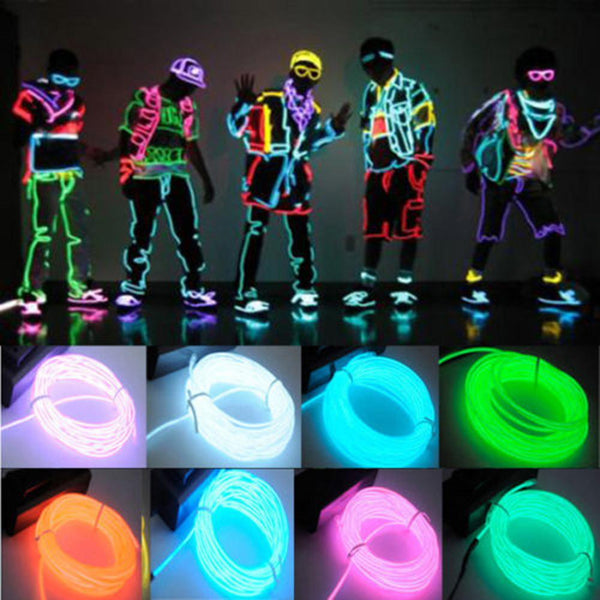2017 New 3M Flexible EL Wire Neon Light for Dance Party Car Decor with Controller Waterproof Car Vehicle Shoes LED Light - Baby Gifts Delivered