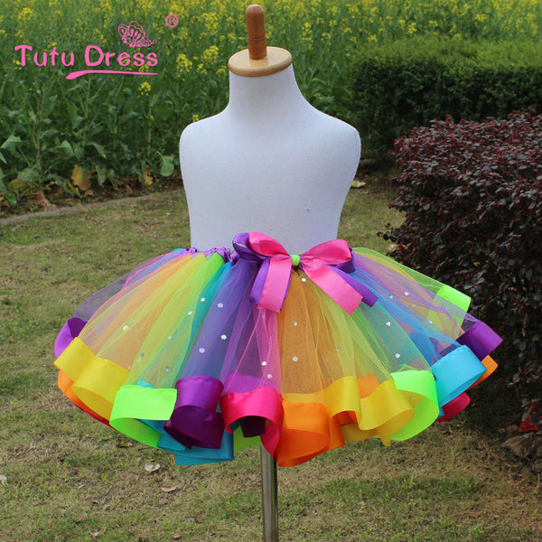 1PC New 2017 Girls Dress Baby Kids Girl Dress Tutu Dress Children With Diamond Rainbow Dresses - Baby Gifts Delivered