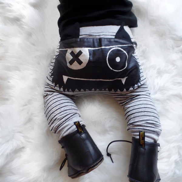 0-2Y Baby Boys Girls Cute Striped Monster Bottom Pants Leggings Harem Pants Kids Trouser - Baby Gifts Delivered
