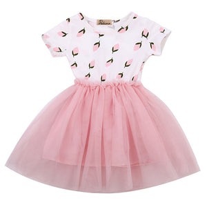 2016 Fashion Baby Kids Girl Dress Shell Polka Dot Lace Short Sleeve Tulle Tutu Party Gown Princess Formal Dresses Summer Dress - Baby Gifts Delivered