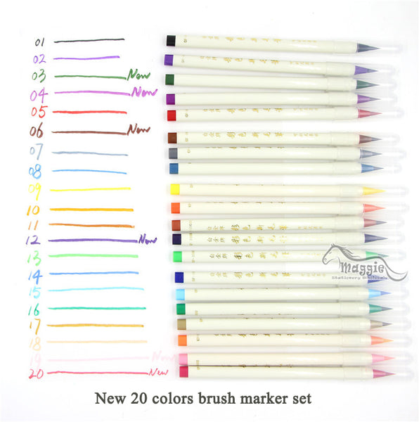 7/14/20 Set Colorful Calligraphy Pen Soft Brush Marker Watercolor Marker Pen DIY Graffiti Manga Drawing Marker Fineliner Marker - Baby Gifts Delivered
