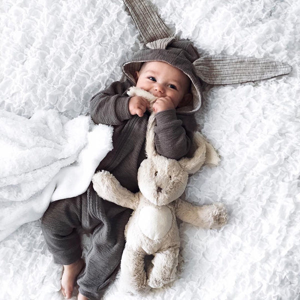 CUTE AS A BUNNY! 3D Bunny Ear Romper Jumpsuit - Newborn Infant Baby Clothes - Baby Gifts Delivered
