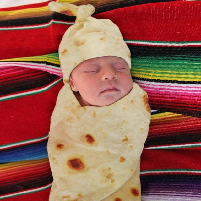 Burrito Baby Blanket  - Flour Tortilla Swaddle Wrap with Hat