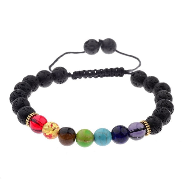7 Chakra Colorful & Black Lava Stone Weave Braiding Bracelet Handmade Beads Bracelet Jewelry