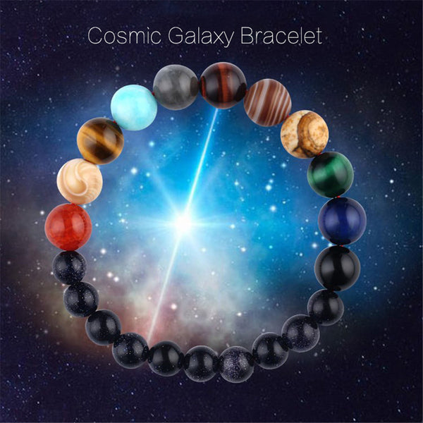 Eight Planets Natural Stone Bracelet Universe Yoga Chakra Galaxy Solar System Beads Bracelets for Men Women Jewelry