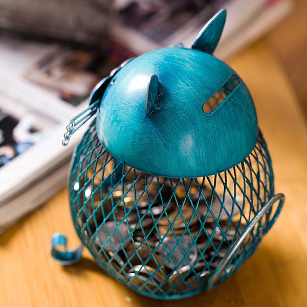 Artistic Blue Cat - Piggy Bank Metal Figurine - Baby Gifts Delivered