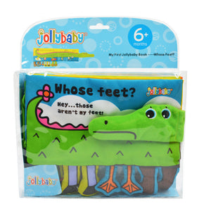 """Whose Feet"" Soft Cloth Baby Book - Cute Cartoon Animals - Helps Toddler & Infant Development - Baby Gifts Delivered"