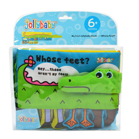 """Whose Feet"" Soft Cloth Baby Book - Cute Cartoon Animals - Helps Toddler & Infant Development"