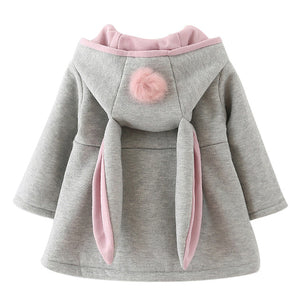 Cute Rabbit Hooded Princess Jacket - Baby Girl Outwear