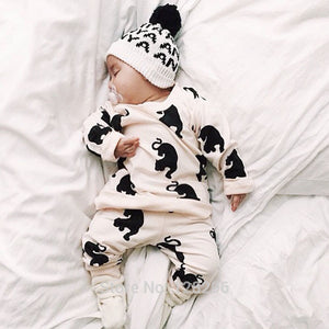 2017 New Fashion baby clothes set - Novelty big cat print - cartoon Long sleeve T-Shirt+Pants 2pcs