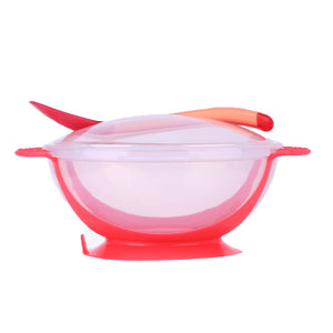 3Pcs/set Baby Tableware - Suction Bowl with Temperature Sensing Spoon - Baby Gifts Delivered
