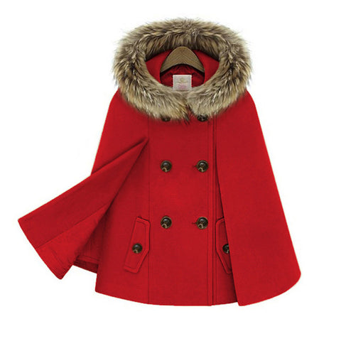 High-Fashion double-breasted wool coat - fur hooded ladies cloak