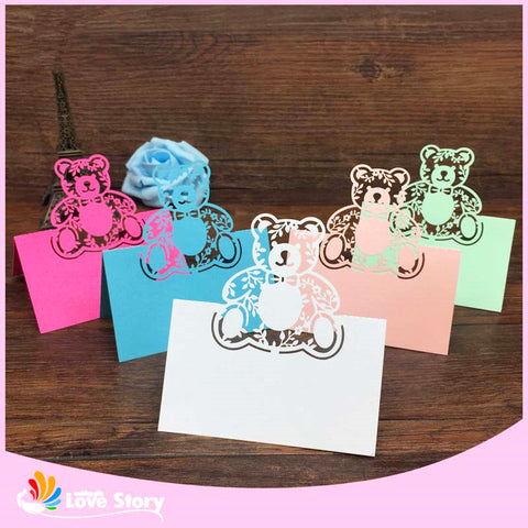 40pc Bear Laser Cut Baby Shower Invitation Cards/Placeholder cards