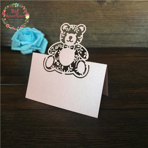 40pc Bear Laser Cut Baby Shower Invitation Cards/Placeholder cards - Baby Gifts Delivered