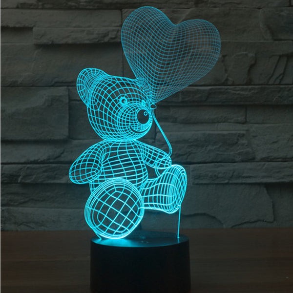 Awesome Optical Illusion 3D LED Night Light - Bear with Balloon - Baby Gifts Delivered