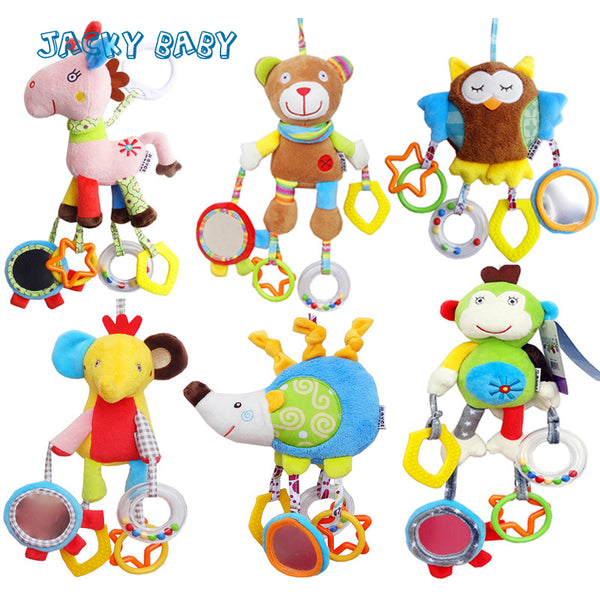 Cartoon Plush Animals Baby Rattles Stroller Toys With Teether, Mirror
