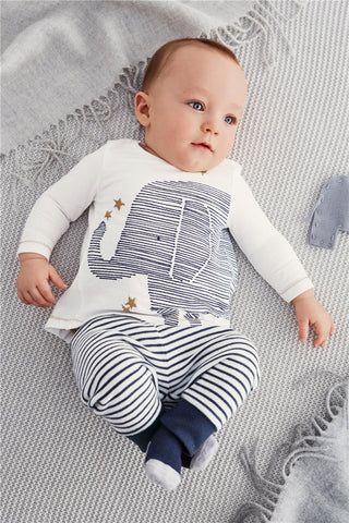 Baby boy clothes cotton long sleeve elephant t-shirt + stripe pants