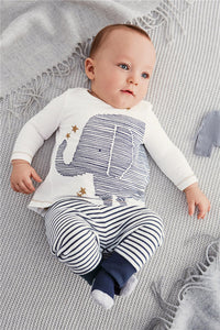 Baby boy clothes cotton long sleeve elephant t-shirt + stripe pants - Baby Gifts Delivered
