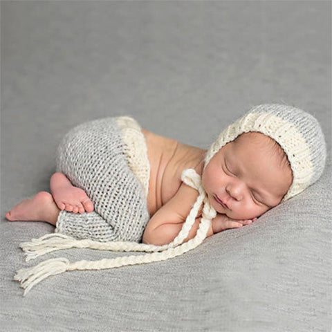 Cute Newborn Photography Props - Handmade Crochet Costume - Knit Infant Beanie Hat And Pants - Baby Gifts Delivered