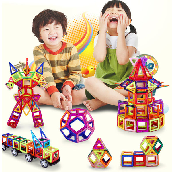 164pcs-64pcs Mini Magnetic Designer Construction Set Model & Building Toy Plastic Magnetic Blocks Educational Toys For Kids Gift - Baby Gifts Delivered