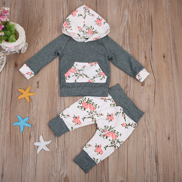 2pcs!!Newborn Baby Boy Girl Floral Clothes Long Sleeve Hooded Tops+Floral Long Pants Leggings 2pcs Outfits Set - Baby Gifts Delivered