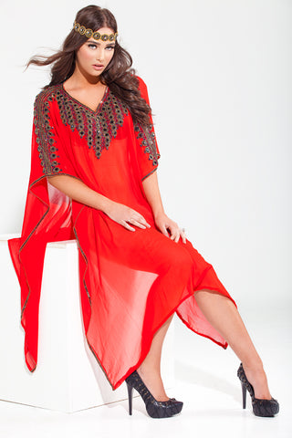 "Yara Yosif short ""Jaleela "" kaftan - Red and Black"