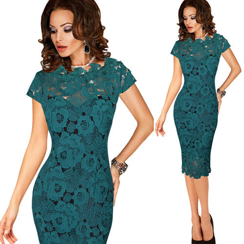 Vfemage Womens Elegant Sexy Crochet Hollow Out Pinup Party Evening
