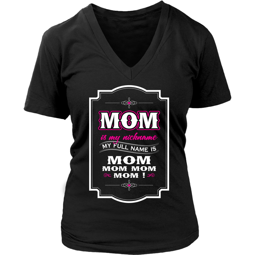 Mom Nickname Womens V Neck T Shirt