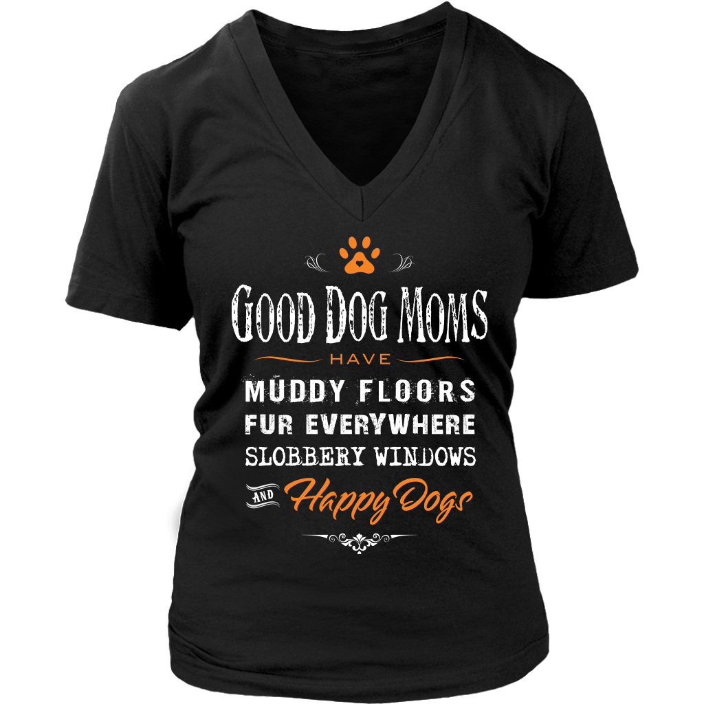 Dog Moms Womens V Neck T Shirt