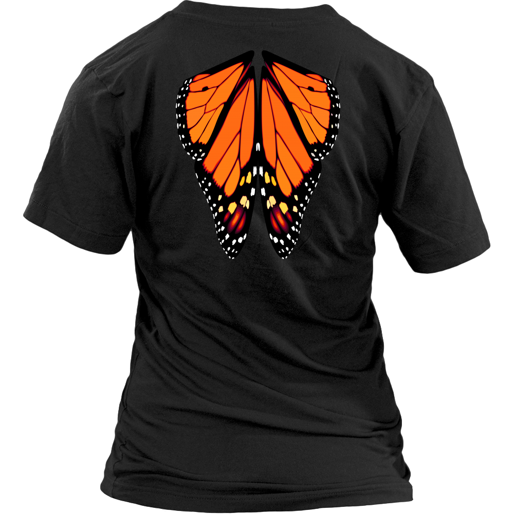Butterfly Wings Womens V Neck T Shirt (print on back)
