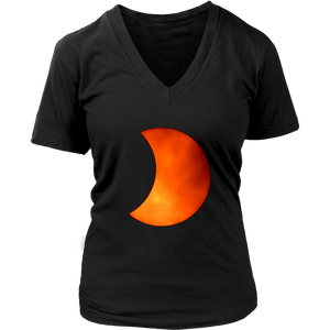 Solar Eclipse Womens V Neck T Shirt