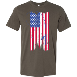Fishing Rod & Flag Mens T Shirt