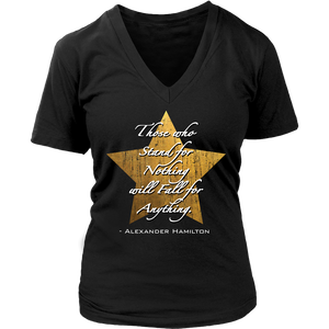 Hamilton Quote Womens V Neck T Shirt