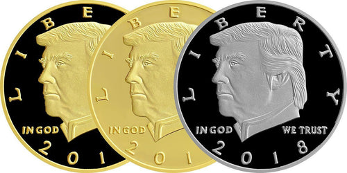 LIMITED EDITION 2018 Golden Black & Silver Trump Presidential Set of 3