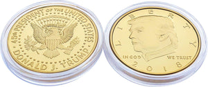 2018 Gold Trump Coin Front and Back