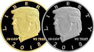 2018 Golden & Silver Two-Tone Trump Presidential Coin Set