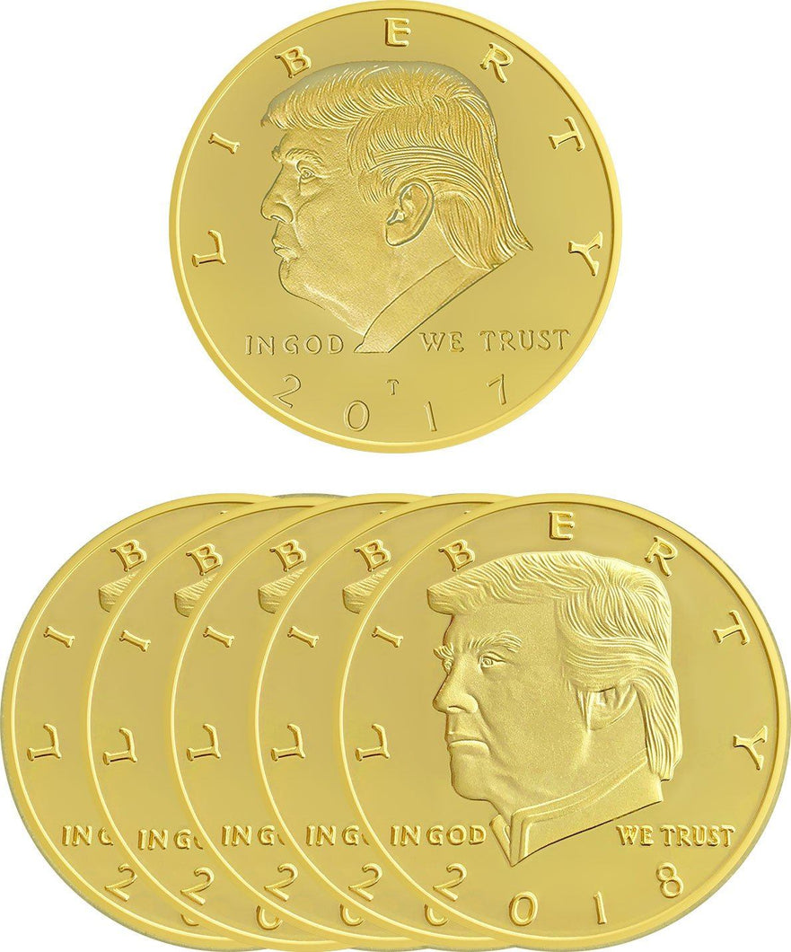 2018 Golden Trump Presidential Coin Set of 5 + LIMITED 2017 Coin