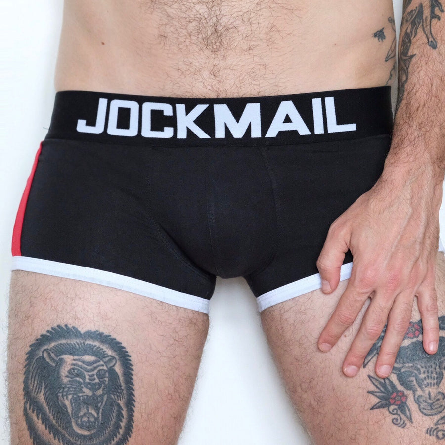 Transguy Wearing Black Jockmail Packing Underwear Boxer Briefs for FTMs