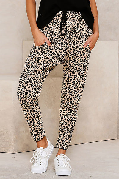 Leopard print Trousers - Brown