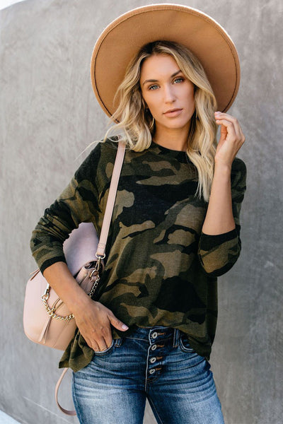 Harper Camo Zip Long sleeve Top
