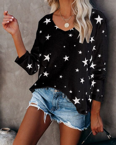 Grace Stars Black Long Sleeve Top