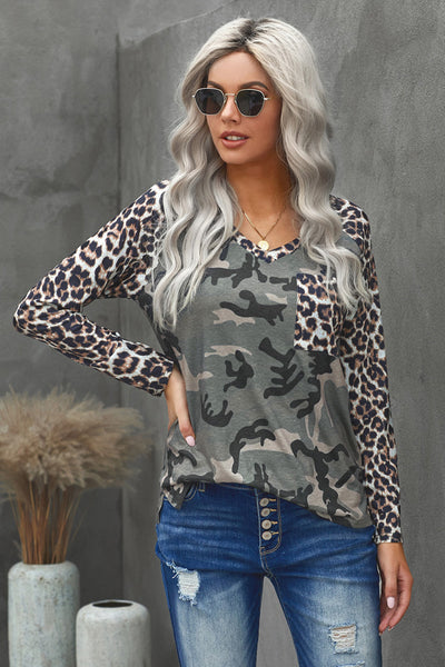 Riley Camo and Leopard Top