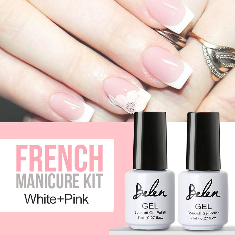French Manicure Set - 2 Gel Nail Polishes + Tip Guide - UV / LED ...