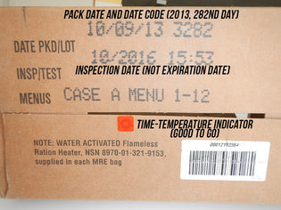 USA MRE BASICS: Date codes, date of packing, best by dates, freshness, weight, etc